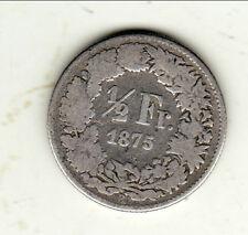 SUISSE RARE 1/2 FRANCS 1875 B