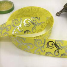 New Diy 5yards 1inch 25mm print hot silver Satin Bow Ribbon Hair Sewing yellow