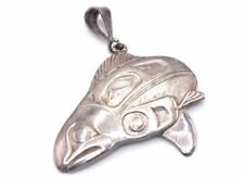 SIGNED J PANZE Pacific Northwest HAIDA Sterling Silver TRIBAL FISH Pendant