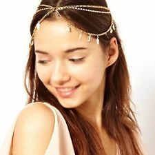 UK Boho Gold Leaf Elastic Crystal Hairband Head Chain Head Piece Festival Party