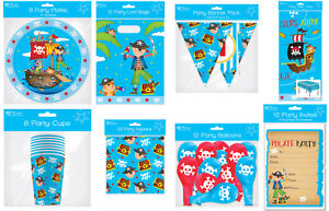 Childrens Pirate Party Birthday Accessories Set Pack Tablewear Invites Balloons
