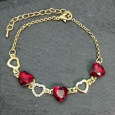 Gold Plated Red Crystal Hearts Chain Link Bracelet