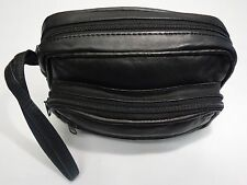 Gents Soft Leather Wrist Bag with Four Zipped Pockets for travel ,Taxi etc Small