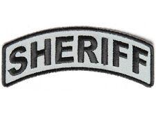 "(G20) SHERIFF Rocker Black & Gray 4"" x 1"" iron on patch (4205)"