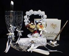 TASMANIAN DEVIL TAZ wedding Cake topper LOT glasses server guest book garter