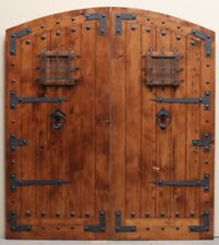 Rustic reclaimed solid lumber Double door wine room castle storybook w/ hardware