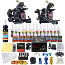 Complete Tattoo Kit 2 Pro Machine Guns 28Inks Power Supply Needle Grips TK224