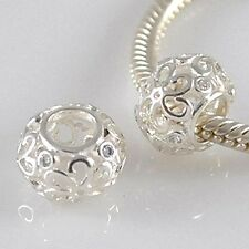 FILIGREE flower-daisy-openwork-cz - solido 925 argento Sterling Charm europeo Perline
