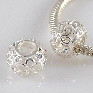 FILIGREE FLOWER-Daisy-Openwork-CZ- Solid 925 sterling silver European charm bead