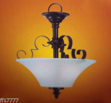 Scroll Wrought Iron Foyer Light Inverted Pendant Ceiling Semi Flushmount Bronze