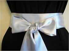 "NEW 2.5""x60"" SILVER SATIN SASH BELT SELF TIE BOW FOR PARTY DRESS WEDDING BRIDAL"