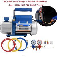 Kit Carica Vuoto Pompa 60Lt Manometro Ricariche Gas R134A R410A Condizionatore