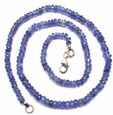 """Natural Gem Tanzanite Faceted Rondelle Beads Necklace 17"""" Top Quality 4 to 5MM"""