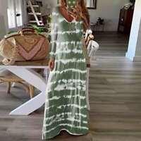 Women Tie Dye V-Neck Long Sleeve Casual Dress Ladies Baggy Maxi Dress Plus Size