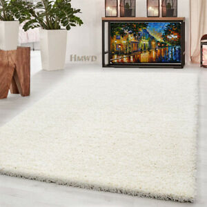 X LARGE SMALL THICK PILE MODERN RUGS NON-SHED SOFT SHAGGY RUG ROUND RUNNER-IVORY