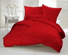Bettwäsche 155 x 220 Biber Rot Uni Flanell Baumwoll Warm Winter Einfarbig Set