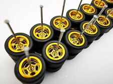 10 set 5 spoke Gold Premium rubber wheels for Hw 1:64 scale cars and other