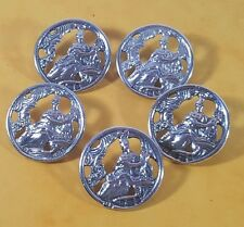 5 LARGE VICTORIAN ANTIQUE HM SILVER BUTTONS - CLASSICAL MAIDEN & HARP 1900