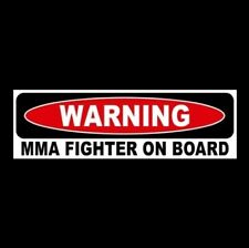 """Mma Fighter On Board"" window decal Bumper Sticker cage boxing Ufc gloves combat"