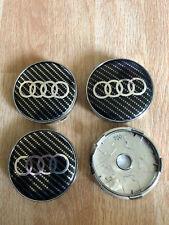 4x Audi Wheel Centre Cap Alloy Hub Set of 4 Caps 60mm Black/Silver Carbon Fiber