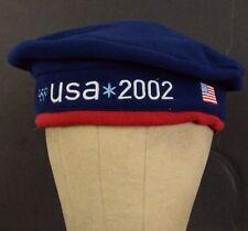 Roots USA 2002 Olympic Blue Flat Top Winter Baker's Fleece Hat Cap
