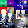 2x RGB Bulb LED Light E27 12 Colour Changing Dimmable Remote Control Screw Lamp
