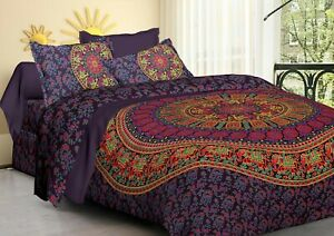 Indian Hippie Elephant Mandala Bedding Set King Size Bed Sheet & 2 Pillow Cover