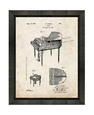Piano Patent Print Old Look in a Beveled Black Wood Frame