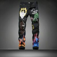 Men's Black Punk Rock Nightclub Printed Fire Pants Slim Fit Jeans Trousers pants