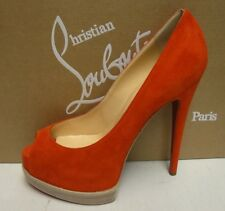 Christian Louboutin Palais Royal Red Suede 140 Pumps Heels Platform Shoes 38
