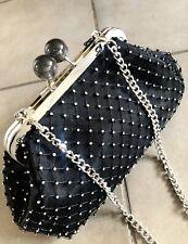 Zara Black Mesh Diamente Kiss Lock Crossbody Shoulder Clutch Bag # H07