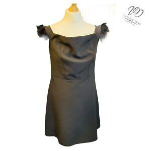 New Look Size 12 Women Black Dress Feather Trim Mid Dress