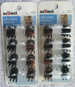 "12 Scunci EffortlessBeauty 5/8"" Small Plastic Jaw Hair Clips Black Frosted Clear"