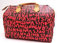 Auth LOUIS VUITTON Speedy 30 Monogram Graffiti Boston Hand Bag Fuchsia Pink 1602
