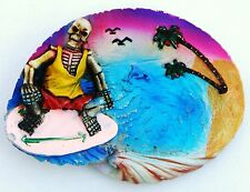 FRIDGE MAGNET 3D SOUVENIR SKELETON ON SURFBOARD DESERT ISLAND DOLPHIN GULLS