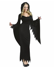 WOMAN HALLOWEEN COSTUME BLACK HOODED GOTH WITCH WICCA GOWN
