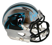 CHRISTIAN McCAFFREY SIGNED CAROLINA PANTHERS CHROME SPEED MINI HELMET BECKETT