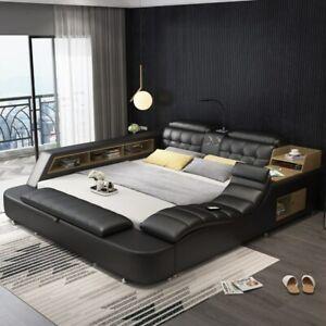 Genuine leather bed frame Soft Beds massager storage safe speaker LED light USB
