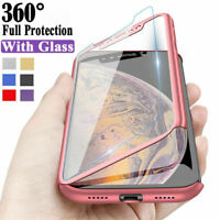 For iPhone 11 Pro Max XS XR 5 5s 8 7 6s Plus Full Cover Slim Case+Tempered Glass