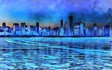 Painting Digital Chicago Skyline Blue Night Giant Wall Canvas Art Print