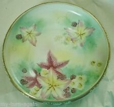 Vtg. NIPPON Hand Painted Blackberries Leaf Daisies Moriage Gold Gilt Footed Bowl