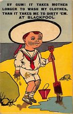 POSTCARD  COMIC   BLACKPOOL   Little  Boy  Clothes