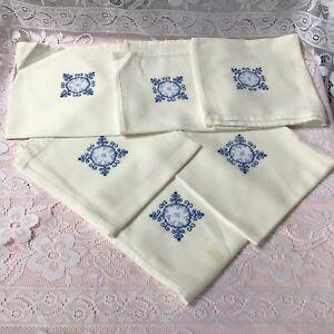 "Vintage Set Six Embroidered Square Table Napkins Size 44 X 44cm (17"" X 17"""