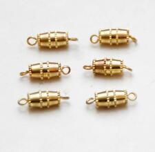 Set of 6_VINTAGE Brass w/ 12K Overlay_Barrel Screw Clasps