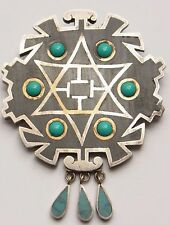 Vintage taxco signed Mexico Modernist piedra Negra sterling broche brooch pin 1