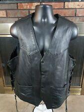 Vintage Park V Black Leather Motorcycle Biker Cowboy Trucker Vest Mens Size 50
