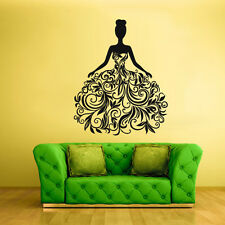Wall Vinyl Sticker Bedroom Decal Sexy Model Fashion Girl Curly Dress (Z1909)