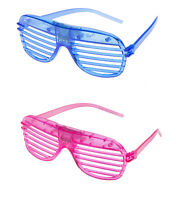 1 Blue 1 Pink Flashing LED Shutter Glasses Light Up Slotted Party Glow Shades