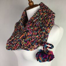 Betseyville Rainbow Infinity Scarf by Betsey Johnson Chunky Knit Metallic OS New
