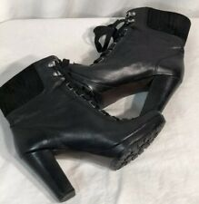 Circa Joan And David Black Leather Lace Up ROVER Ankle Boots Sz 9 Retail 250.00